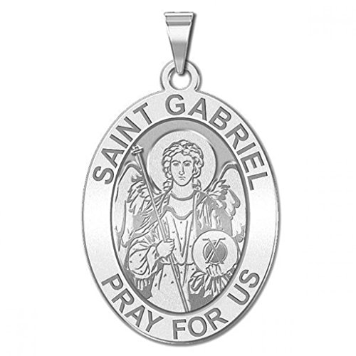 Saint Gabriel Oval Religious Medal - 1/2 X 2/3 Inch Size of Dime, Sterling (Gold Saint Gabriel Medal)