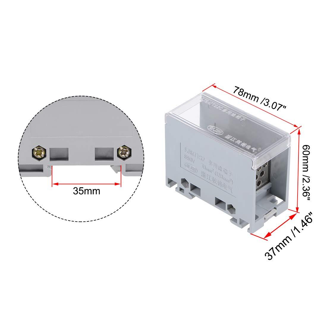 sourcing map Bloques Terminales Riel DIN 35mm 1 Entrada 12 Salida Bloque Distribuci/ón Conectores