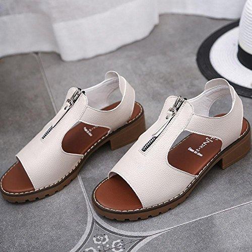 Transer® Damen Sandalen Ankle-wrap mit Reißverschluss Niedrige Ferse Schwarz Weiß Beige Sandalen (Bitte achten Sie auf die Größentabelle. Bitte eine Nummer größer bestellen) Beige