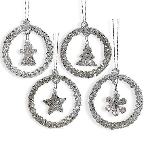 Glitter Glam Glass Christmas Tree Ornament Set - Set of 4 Glitter Christmas Ornaments - Tree, Angel, Star and Snowflake- Sparkly Ornaments (Glass Ornament Tree Spun)