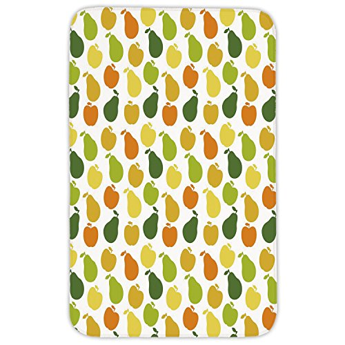 Rectangular Area Rug Mat Rug,Fruits,Apple and Pears Food Botany Fresh Healthy Garden Yummy Theme Decorative,Earth Yellow Lime and Hunter Green,Home Decor Mat with Non Slip Backing by iPrint