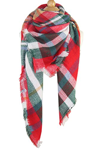 Achillea Women's Oversized Tartan Plaid Check Blanket Scarf Large Square Winter Warm Shawl Wrap (Green Red Plaid)