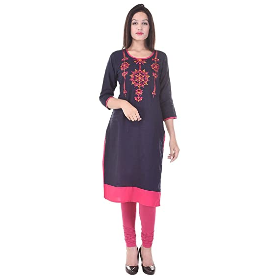 6e41a08780172 Pink City Style Women s Round Neck Straight Embroidered Cotton Kurti  Amazon .in  Clothing   Accessories