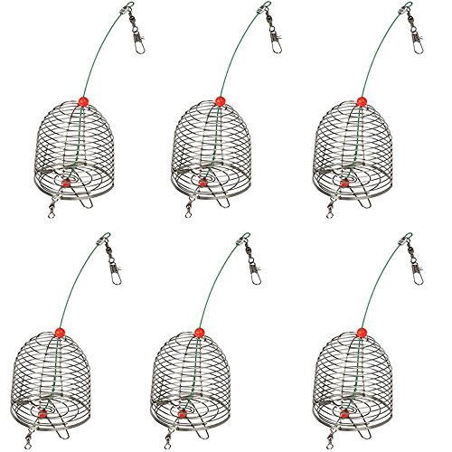 6 PCS Stainless Steel Carp Fishing Bait Trap Cage Feeder Basket Holder Coarse Lure Feeder Carp Fishing Accessories Tackle Kit-Trap Dia:3.5CM/4.0CM/4.6CM (Large-Trap Dia 4.6CM-6PCS) (Best Carp Bait To Use In Spring)