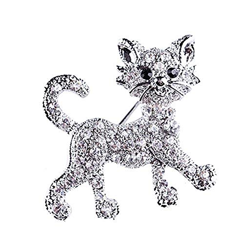 Reizteko Pretty Cat Kitten Gold Plated Full Shining Clear Crystal Cat Brooches and Pins Wedding for Women Gift Pet Lover (Silver) ...