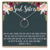 Dear Ava Necklace: Soul Sisters, BFF Necklace, Jewelry, Long Distance, Quotes, Friends Forever, 2 Linked Circles (Silver-Plated-Brass, NA)