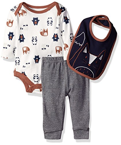 Rene Rofe Baby Boys' 3 Piece Turn Me Round Pant Set with Bib and Bodysuit, Forest Friends Blue, 6-9 Months