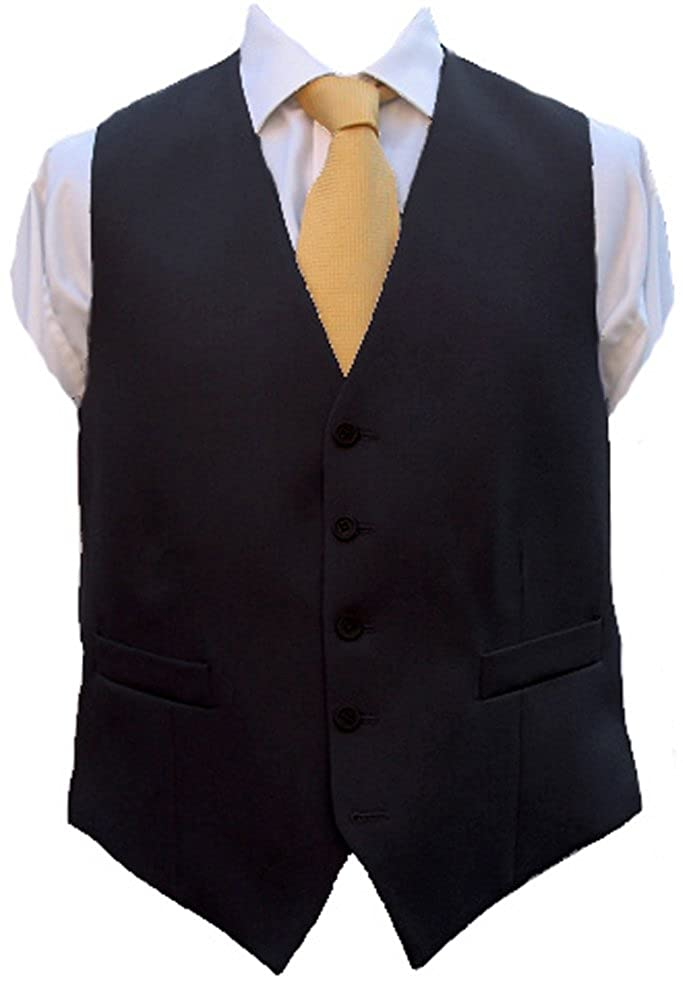 Black Herringbone Wool Waistcoat - Made in UK Clermont Direct