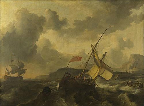 Gone With The Wind Costumes For Sale - Polyster Canvas ,the Beautiful Art Decorative Prints On Canvas Of Oil Painting 'Ludolf Bakhuizen An English Vessel And A Man Of War In A Rough Sea ', 30 X 41 Inch / 76 X 103 Cm Is Best For Hallway Artwork And Home Artwork And Gifts