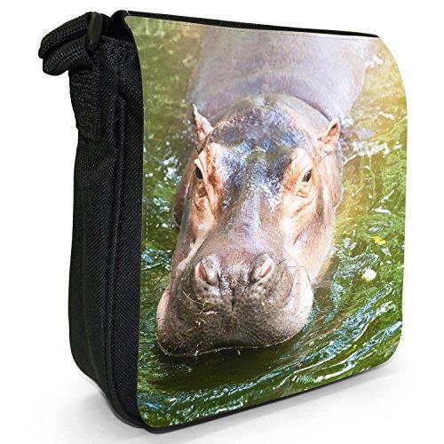 Black In Hippopotamus Canvas Size Bag Small Shoulder Water Hippo E0qcwdOO
