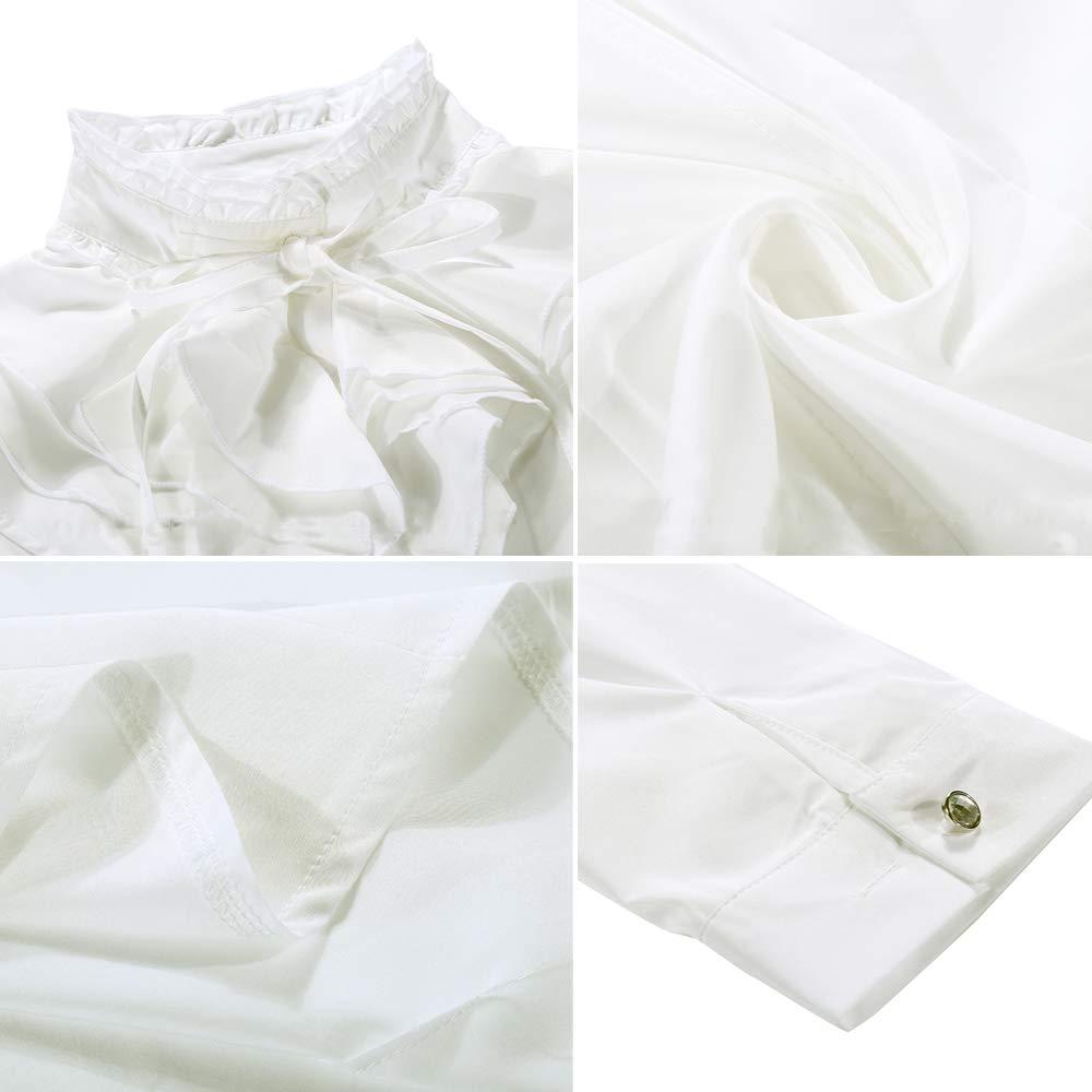 Nanxson kvinnor formal långärmad spetsar stående krage vintage skjorta blus CSW0033 Beige