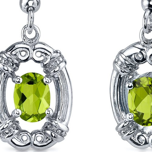 Peridot Earrings Sterling Silver Rhodium Nickel Finish Antique Style 1.50 Carats