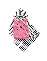 Baby Girl 2pcs Suit Outfit Arrow Pattern Pink Hoodies+Striped Long Pants Set