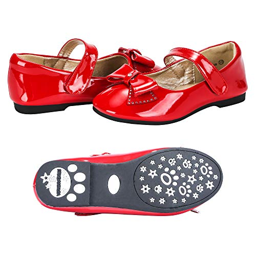 (PANDANINJIA Toddler/Little Kids Felicia Wedding Party Red Ballet Flower Mary Jane Girls Flats Dress)
