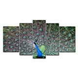 Teal 5 Piece Wall Art Painting Peacock Courtship Prints On Canvas The Picture Animal Pictures Oil For Home Modern Decoration Print Decor For Bedroom