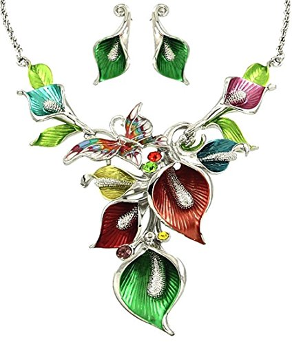 - DianaL Boutique Silver Tone Rhodium Plated Amazing Floral Pink Purple Green Blue Butterfly Orchid Flowers Necklace and Earrings Set Gift Boxed Fashion Jewelry YNE2714-MT