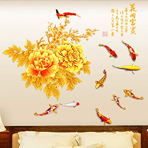 DERUN TRADINGL Wall Stickers & Murals Flowers Wall Decals Wall Decor Stickers Decorations Home Decor Accents Vinyl Removable Mural Paper for Living Room Bedroom Wall Treatments
