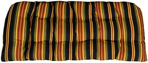 RSH D cor Indoor Outdoor Cushion for Wicker Loveseat Settee Bench Black Red and Gold Stripe