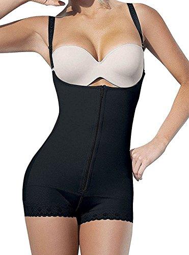 Smoothing Seamless Bodysuit (YIANNA Womens Body Shaper Seamless Tummy Control Shapewear Open Bust Slimmer Belly Shaper Bodysuit, YA7102-Black-3XL)