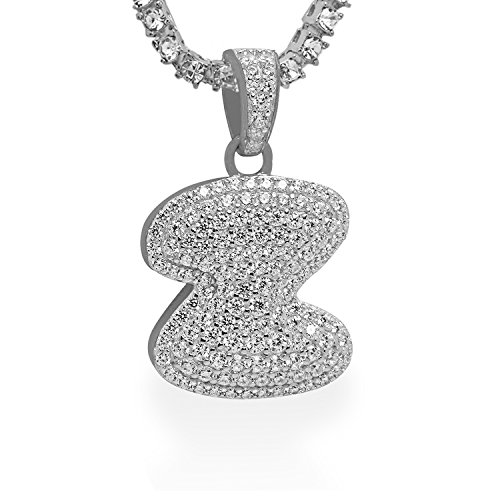 925 Sterling Silver White Gold-Tone Iced Out Hip Hop Bling Bubble Letter Alphabet Z Pendant with 16'' 1 Row Chain by iRockBling
