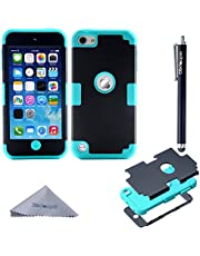 iPod Touch 7 Case, iPod Touch 6 Case, iPod Touch 5 Case, Wisdompro 3 in 1 Hybrid Soft Silicone and Hard PC Protective Cover for Apple iPod Touch 5th, 6th and 7th Generation - Mint and Black