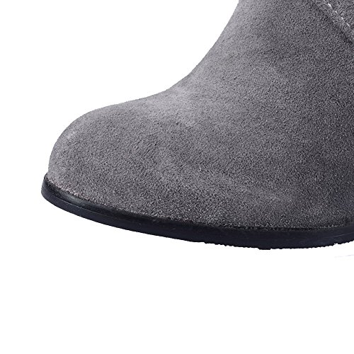 AllhqFashion Womens Solid Kitten Heels Round Closed Toe Imitated Suede Pull-on Boots Gray SXjh0vja