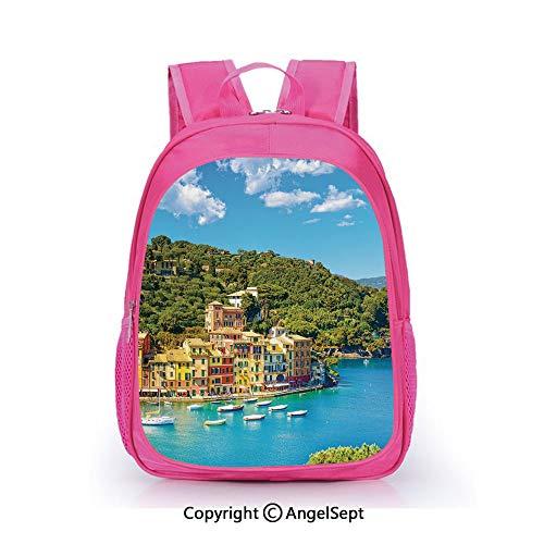 Fashion Kindergarten Children Waterproof Bookbag,Portofino Landmark Aerial Panoramic View Village and Yacht Little Bay Harbor Decorative Blue Green Yellow,15.7inch,Elementary School Travel Bag For Gir]()