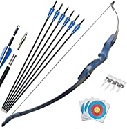 D&Q 52'' Archery Recurve Bow and Arrow Set 25 30 40Lbs Right Hand Takedown Bow Kit for Adults Begi