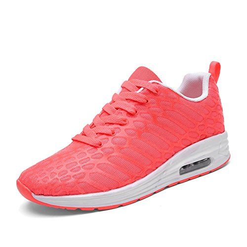 XIDISO Men Women Road Running Shoes Lightweight Athletic Walking Fashion Sneakers Pure-RoseRed