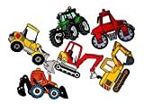 Set 6 Mix Tractor Set D.I.Y. Cartoon Kids Embroidered Sew Iron on Patch Cartoon Sew Iron on Embroidered Applique Craft Handmade Baby Kid Girl Women Cloths DIY Costume Accessories
