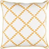 22'' Cotton White and Earth Yellow Linen Decorative Throw Pillow- Down Filler