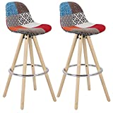 WOLTU Breakfast Counter Chairs Bar Stools Set of 2 Wood Barstools High Stools Multicolor