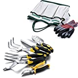 Kungfuking Gardening Tool Set for Digging Planting Gardening Kit with Heavy Duty Cast-aluminum Heads & Ergonomic Handles 8-Pieces Each Set