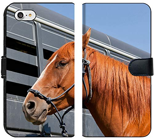 - Luxlady iPhone 7 Flip Fabric Wallet Case IMAGE ID: 34247959 A close up of a reddish brown horse tied with a blue rope halter to a ho