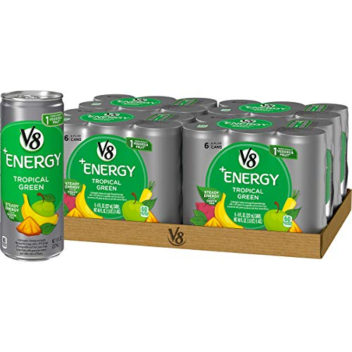 V8 +Energy, Juice Drink with Green Tea, Tropical Green, 8 oz. Can (4 packs of 6, Total of 24)