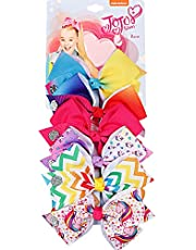6pcs/Card 5Inch Girls JOJO Siwa Large Hair Bows Children Rainbow Unicorn Hair Clips
