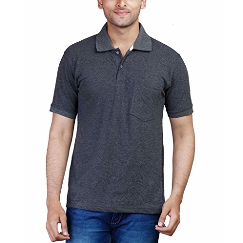 Fleximaa Men's Cotton Polo Collar T-Shirts With Pocket – Charcoal Milange Color