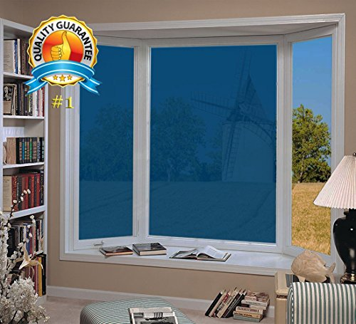 6.5-Feet (60cm×2m) Daytime Privacy Sun Control and Heat Rejection Window Glass Tinting Film for Residential and Commercial Uses, Sun Blocker, Solar Guard, Dark Blue (3' Static Cling Decal)