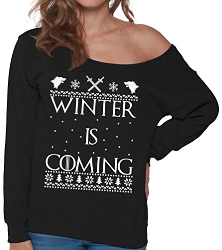 Christmas Is A Coming - Pekatees Winter is Coming Sweatshirt Winter is Coming Sweater Off the Shoulder Tops for Christmas Ugly Christmas Sweater for Women Black XL