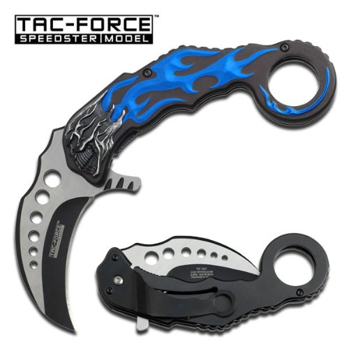 TAC-Force-TF-747BL-Assisted-Opening-Folding-Knife-Two-Tone-Blade-BlackBlue-Skull-Handle-5-Inch-Closed
