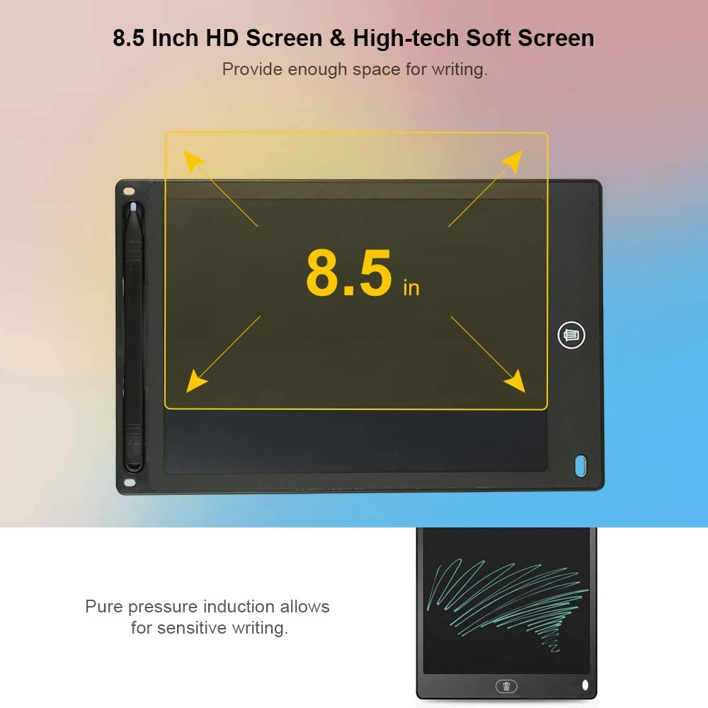 Black Festnight 8.5 Inch LCD Drawing Tablet Portable Digital Pad Writing Notepad Electronic Graphic Board Notes Reminder with Stylus Pen