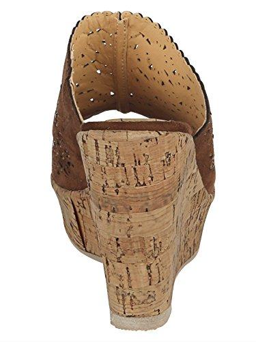 Liva Loop Keilpantolette mit ornamentartigen Durchbrüchen Braun