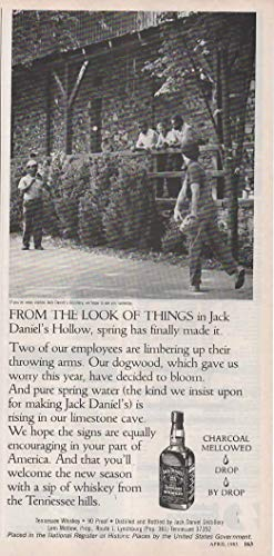 """Magazine Print ad: 1985 Jack Daniels Old No 7 Tennessee Whiskey, Throwing Baseball,""""From the Look of Things in Jack Daniel"""