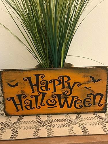 bawansign Happy Halloween Halloween Sign Handcrafted Le Block of Words ()