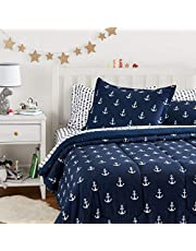 AmazonBasics Easy-Wash Microfiber Kid's Bed-in-a-Bag Set Bedding Set - Full / Queen, White Anchors