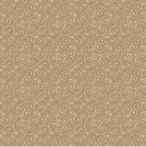 (Tan Scrolls Cotton Fabric by The Yard)