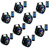 Stage Lights,SAHAUHY RGBW 12 Led Par Lights Sound Activated DMX Color Mixing Up Lighting (BLACK 8)