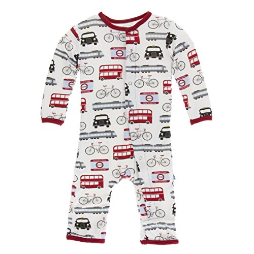 Kickee Pants Little Boys Print Coverall with Snaps - London Transport, 9-12 Months -