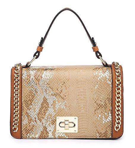 Bag Grab Handbag Edge Chain Snakeskin Shoulder Satchel Women's MA36085 Ladies Apricot wpn80