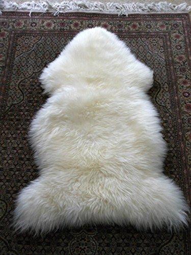 - A-STAR Sheepskin Fur Rug Single Pelt 2x3 - Sheep Skin Area Rug  (Ivory White)